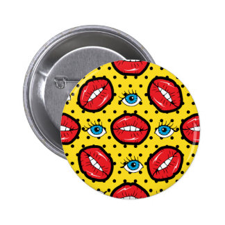 Red Lips, Eye & Polkadots Yellow Black 6 Cm Round Badge
