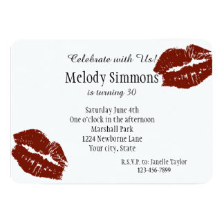 Red Lips Kiss 13 Cm X 18 Cm Invitation Card