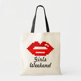 Red lips kiss girls weekend tote bag