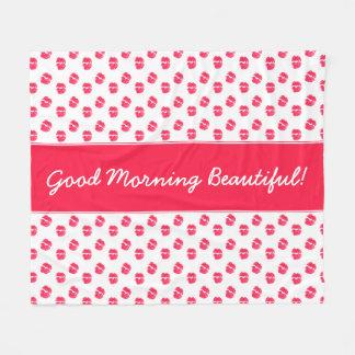 Red Lips Kiss Good Morning Beautiful Fleece Blanket