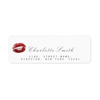 Red Lips Kiss Makeup White  RSVP Return Address Label