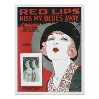 Red Lips Kiss My Blues Away Songbook Cover Poster