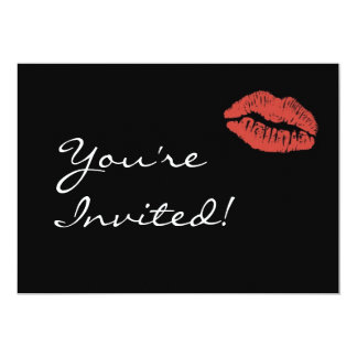 Red Lips Kiss Party Invitation