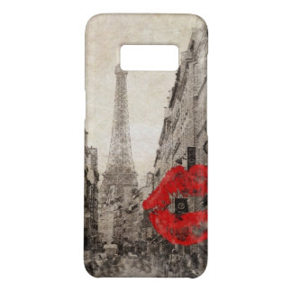 Red lips Kiss Shabby chic paris eiffel tower Case-Mate Samsung Galaxy S8 Case