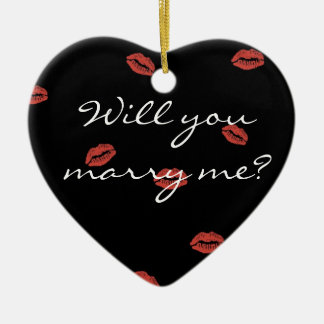 Red Lips Kiss Will You Marry Me Christmas Ornament