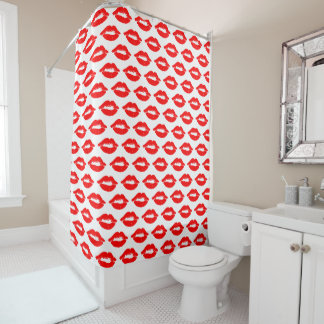 Red Lips Kisses Pattern Shower Curtain