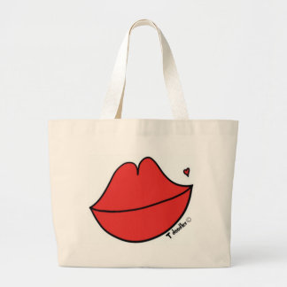 Red Lips Large Tote Bag