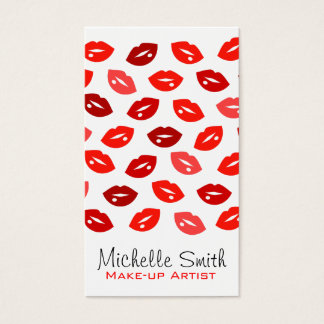 Red lips Make-up artist business card