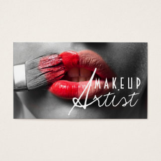 Red Lips MakeUp Artist Cosmetology Business Card