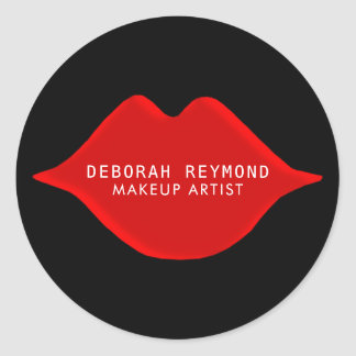 red lips on black for a makeup artist beauty classic round sticker