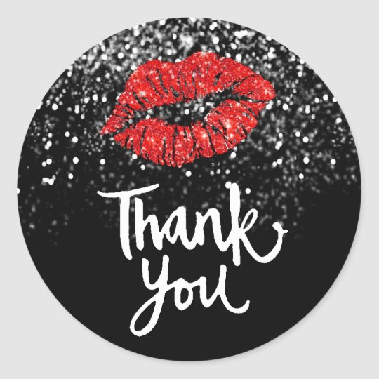 red lips on faux black glitter thank you classic round sticker