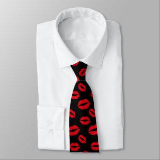 Red Lips Pattern Modern Black Tie