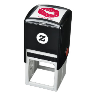 Red Lips Personalized Text Self-inking Stamp