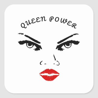 Red Lips Queen Power Square Sticker