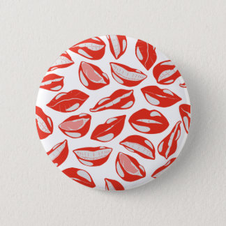 Red Lips ready to kiss 6 Cm Round Badge