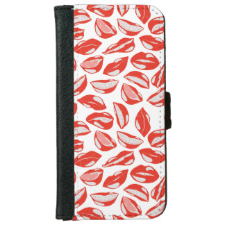 Red Lips ready to kiss iPhone 6 Wallet Case