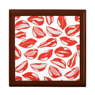 Red Lips ready to kiss Large Square Gift Box
