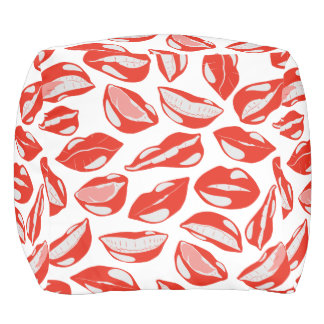 Red Lips ready to kiss Pouf