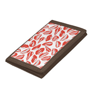 Red Lips ready to kiss Trifold Wallet