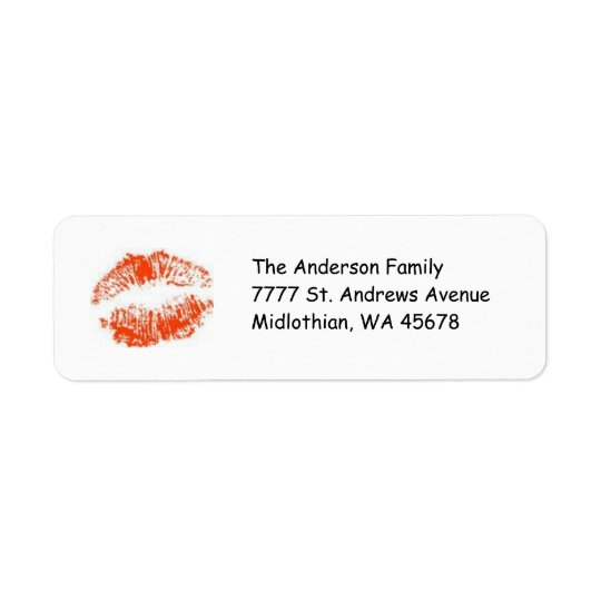 Red Lips Return Address Avery Label