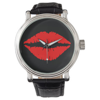 Red Lips Watch Vintage Leather Strap Black