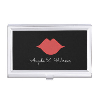 red lips with her name . woman mouth on black business card holder