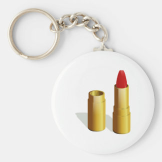 Red Lipstick Basic Round Button Key Ring
