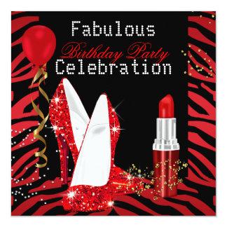 Red Lipstick Glitter Heels Zebra Birthday Party Card