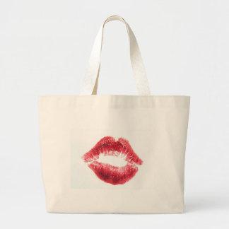 Red Lipstick Kiss Canvas Bag