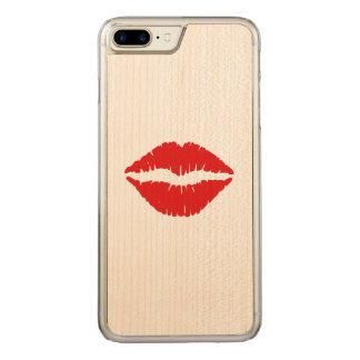 Red Lipstick Kiss Carved iPhone 7 Plus Case
