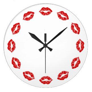 Red Lipstick Kiss Clock