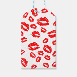 Red Lipstick Kiss Mark Gift Tags