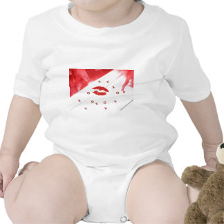 Red lipstick kiss on letter with x o tshirt