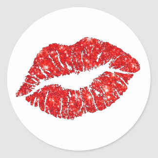 red lipstick kiss round sticker