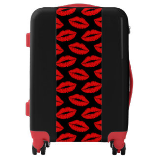Red Lipstick Kisses on Black Personalized Luggage