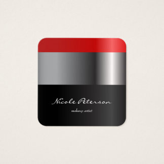 Red lipstick - makeup artist square business card