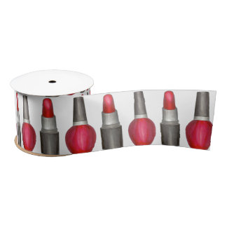 Red Lipstick Nail Polish Beauty Makeup Ribbon Satin Ribbon