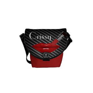 Red Lipstick stripes Personalize Rickshaw Bag Messenger Bag