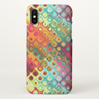 Red Liquid Rainbow Dots Abstract Pattern iPhone X Case