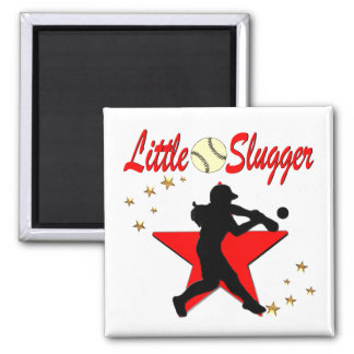 RED LITTLE SLUGGER SOFTBALL GIRL DESIGN SQUARE MAGNET