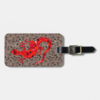 Red Lizard Collage Bag Tag