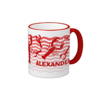Red lobster in red waves mug