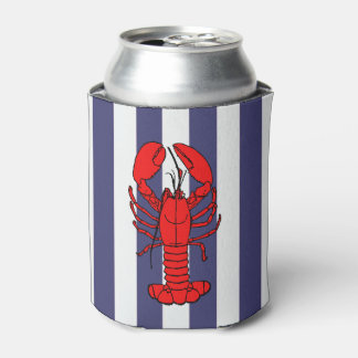 Red Lobster on Blue Stripes Can Cooler