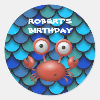 Red Lobster on Blue Under the Sea Birthday Round Sticker