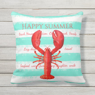 Red lobster on turquoise white nautical stripes cushion