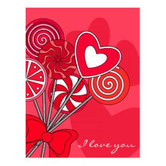 Red lollipop postcard postcard