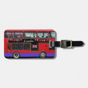 Red London Bus Double Decker Luggage Tag