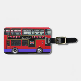 Red London Bus Double Decker Tags For Bags