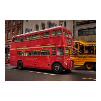 Red London bus on Whitehall, London England Poster