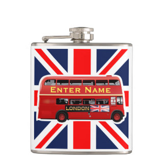 Red London Bus Themed Hip Flask